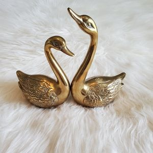 Vintage Brass MCM Swan Lovebird Home Decor Set
